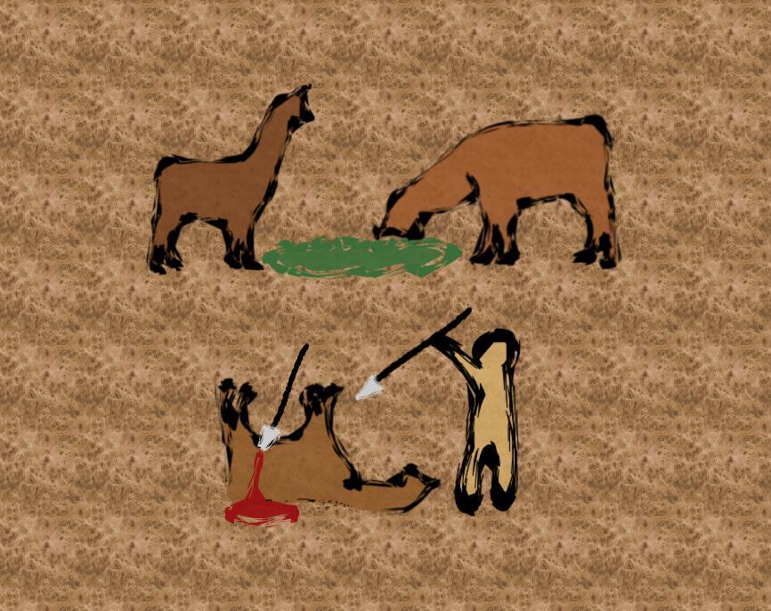 Llama impression #18: Cave painting