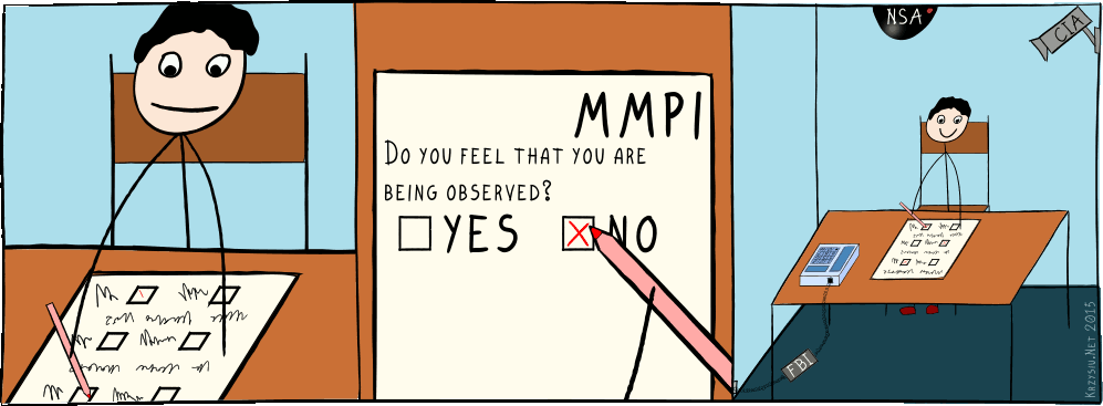 "Comis strip. A person doing MMPI test with question ""Do you feel that you are being observed?"". He checks ""no"", he's happy. On the last panel you can see FBI phone bug and CIA and NSA cameras."